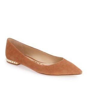 Sam Edelman Brown Reyanne Gold Spiked Heel Flat 9